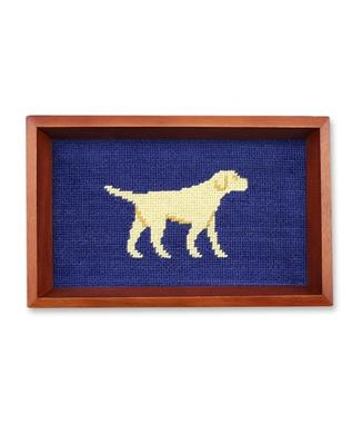 Yellow Lab Needlepoint Valet Tray CLASSIC NAVY
