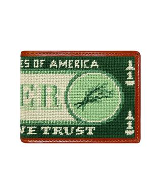 Beer Money Needlepoint Bi-Fold Wallet MULTI