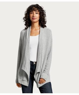 OPEN FRONT CARDIGAN HEATHER GREY