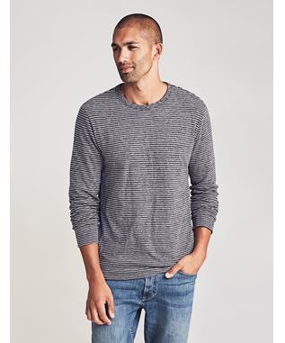 LUXE HEATHER REVERSIBLE CREW CHARCOAL GREY STRIPE