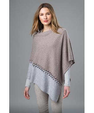 TWIST STITCH COLORBLOCK PONCHO BLACK IVORY