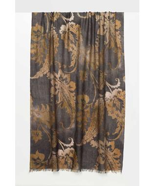 OMBRE PAISLEY PRINT SCARF CHARCOAL/CAMEL