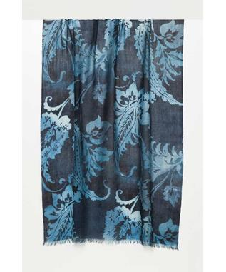 OMBRE PAISLEY PRINT SCARF NAVY/WINTER TEAL