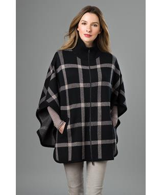 PLAID ZIP MOCK PONCHO IVORY STERLING