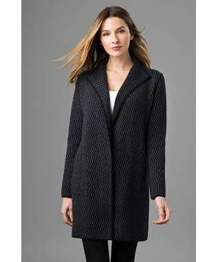 REVERSIBLE JACQUARD CARDIGAN BLACK CHARCOAL