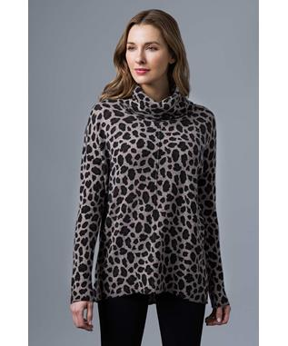 LEOPARD PRINT EXPOSED SEAM COWL SUEDE MULTI