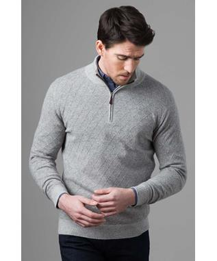LATTICE QTR ZIP STONE GRAY