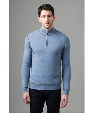 COVERSTITCH QTR ZIP MOCK STONE GRAY