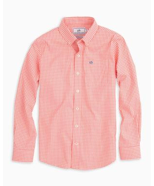 BOYS INTERCOASTAL GINGHAM SHIRT GEORGIA PEACH