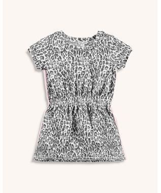 LITTLE GIRL LEOPARD PRINT DRESS LIGHT CHAR HEATHER