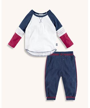 BABY BOY RAGLAN TEE AND PIPED JOGGER SET PHANTOM INK