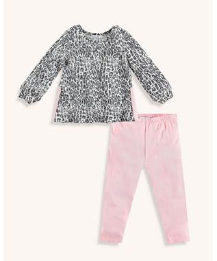 BABY GIRL LEOPARD PRINT LONG SLEEVE TEE SET LEOPARD