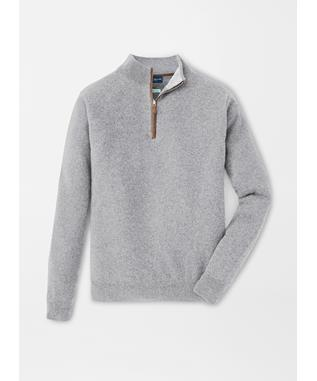 ARTISAN CRAFTED CASHMERE FLEX QUARTER ZIP DOLOMITE GREY