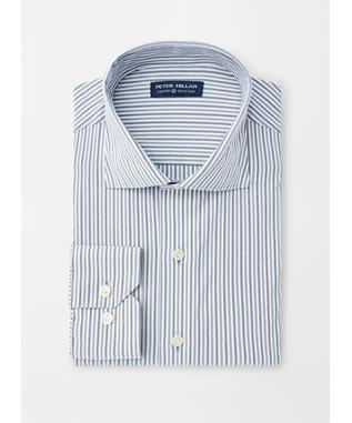 CROWN CRAFTED PETERSON STRIPE PERFORMANCE OXFORD SPORT SHIRT WINDSOR BLUE