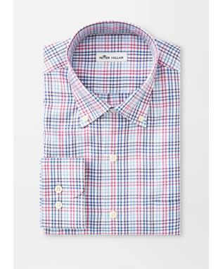 CROWN SOFT MANCHESTER MULTI-GINGHAM SPORT SHIRT MOON BLUE