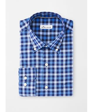CROWN FLEECE STRETCH MOORLAND MULTI-GINGHAM SPORT SHIRT NAVY