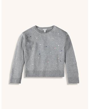 GIRLS LUREX EMBROIDERED SWEATER CHARCOAL HEATHER