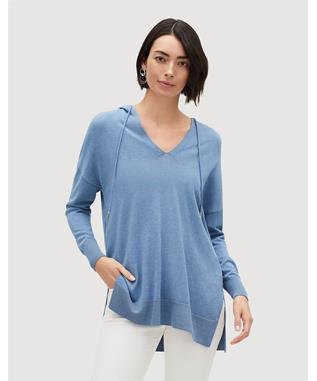 COTTON CREPE YARN RELAXED HOODIE MYSTIC BLUE MELANGE 336