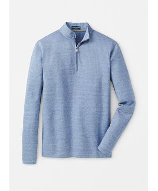 CHARLTON COTTON-CASHMERE QUARTER-ZIP BLUE CIELO
