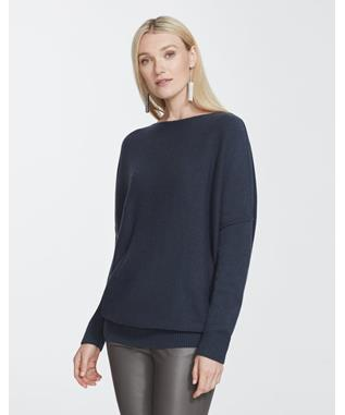 CASHMERE BATEAU NECK SWEATER GREY HEATHER