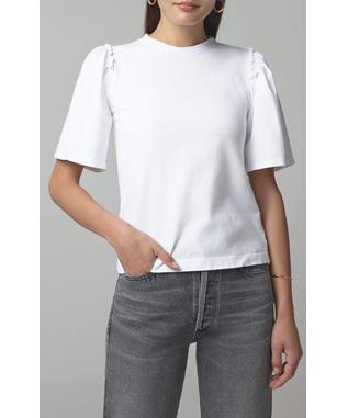 VERA GATHERED SHOULDER TOP WHITE