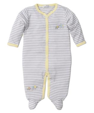 ELEPHANT HUGS STRIPE FOOTIE SILVER