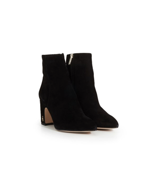 HILTY SUEDE SHORT POINTED TOE BOOTIE BLACK SUEDE