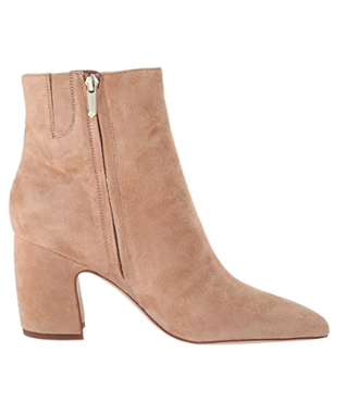 HILTY SUEDE SHORT POINTED TOE BOOTIE GOLDEN CARAMEL