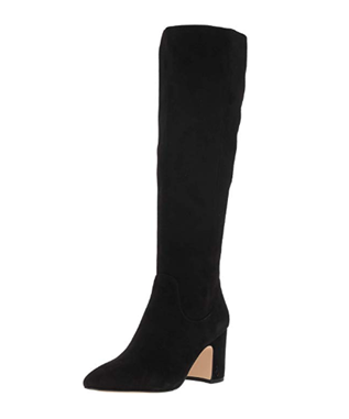 HAI TALL SUEDE STACKED HEEL BOOT BLACK SUEDE