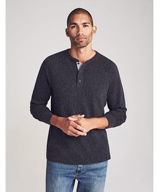 LUXE HEATHER HENLEY WASHED BLACK