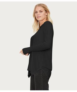 WOMENS L/S SCOOP NECK TOP WITH THUMBHOLES BLACK