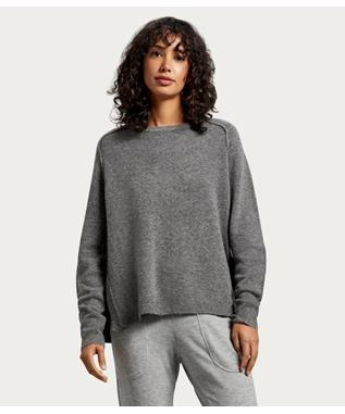WOMENS KENNEDY CREW NECK RAGLAN PULLOVER CHARCOAL