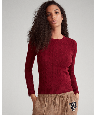 CABLE-KNIT CASHMERE SWEATER BURGUNDY