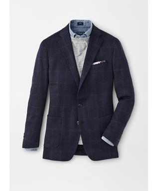 SAVOIE WINDOWPANE SOFT JACKET BARCHETTA BLUE