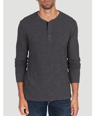 SLUB COTTON HENLEY WASHED BLACK