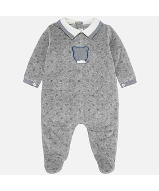 BEAR VELOUR ONESIE STEEL