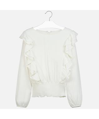 RUFFLED BANDED BLOUSE NATURAL