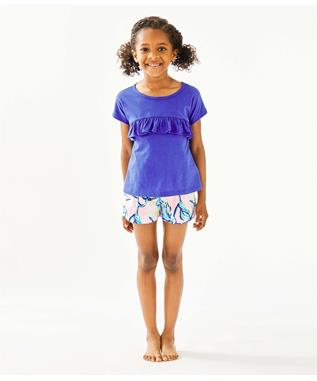 GIRLS PETAL TOP 467-IRIS BLUE