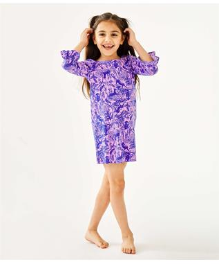 UPF 50+ GIRLS MINI SOPHIE RUFFLE DRESS 5391JT-LILAC
