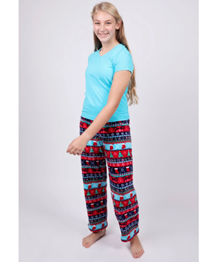 GIRLS CHRISTMAS STRIPE PANT RED
