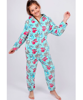 GIRLS FRENCH BULLDOG ONESIE AQUA