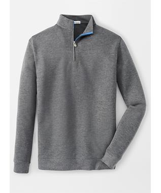 CROWN COMFORT INTERLOCK QUARTER-ZIP SMOKE
