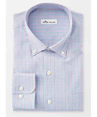 CROWN SOFT STRETCH MIDDLEBURY MICRO-CHECK SPORT SHIRT NIGHT SKY
