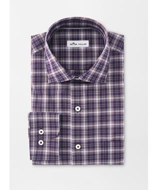 CROWN EASE STRETCH OLD FORGE PLAID SPORT SHIRT NIGHT SKY