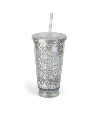 LIGHT UP GLITTER CUP WITH STRAW MULTI