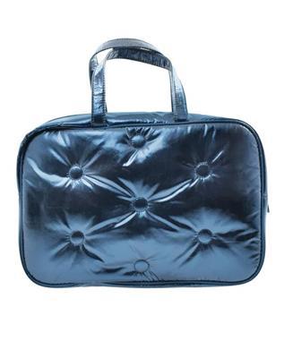BLUE TUFTED METALLIC LARGE COSMETIC BAG MULTI