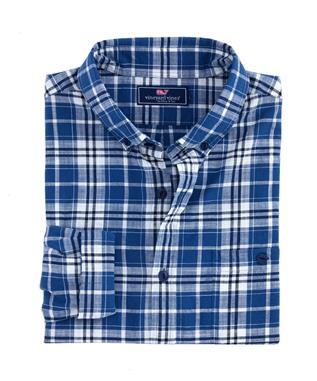 SLIM FIT INDIGO PLAID LONGSHORE SHIRT MOONSHINE