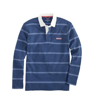 BOYS L/S STRIPE POLO DEEP BAY