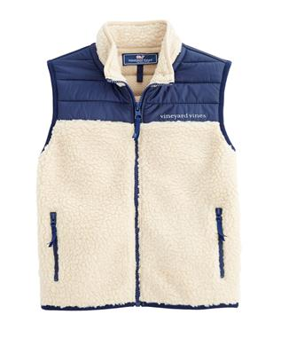 BOYS FULL-ZIP SHERPA VEST OATMEAL HEATHER