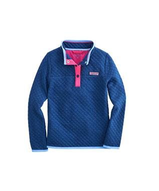 GIRLS QUILTED SNAP SHEP SHIRT DEEP BAY HEATHER